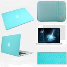 Turquoise hard case sleeve carry bag pouch keyboard cover for Apple macbook Air/Pro/Retina 11 12 13 15 Fit Mac white A1342 MC516(China (Mainland))