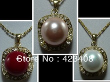 Pendant Necklace 18K Gold Plated Multicolor Sea shell pearl&Austria Rhinestone Necklace Fashion women jewelry Christmas Gift AAA(China (Mainland))