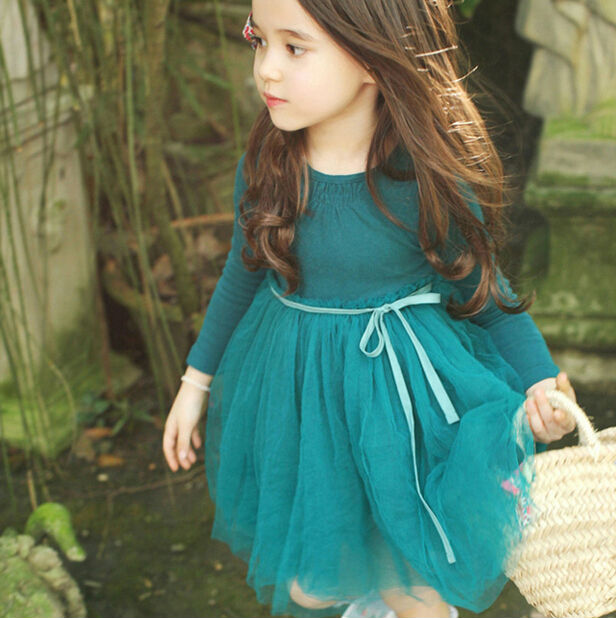2016 New Korean Style  Long Sleeve Fairy Little Girl Mesh Dress  Pure Color Children Princess Dress Baby Party Dress Green Pink <br><br>Aliexpress