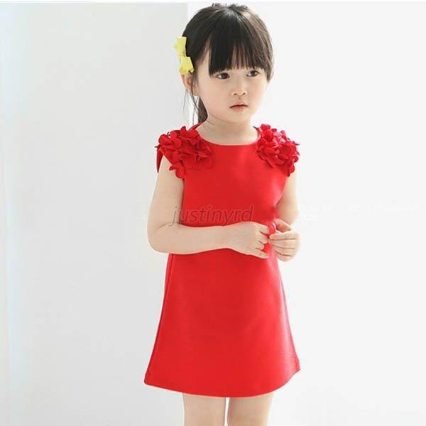 Summer Baby Kids Girls Flower Sleeveless Princess Mini Dress Party Dresses Clothes Solid Vestido