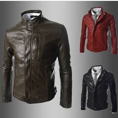 Slim Korean stayed motorcycle leather mens handsome stitching leather jacket Одежда и ак�е��уары<br><br><br>Aliexpress