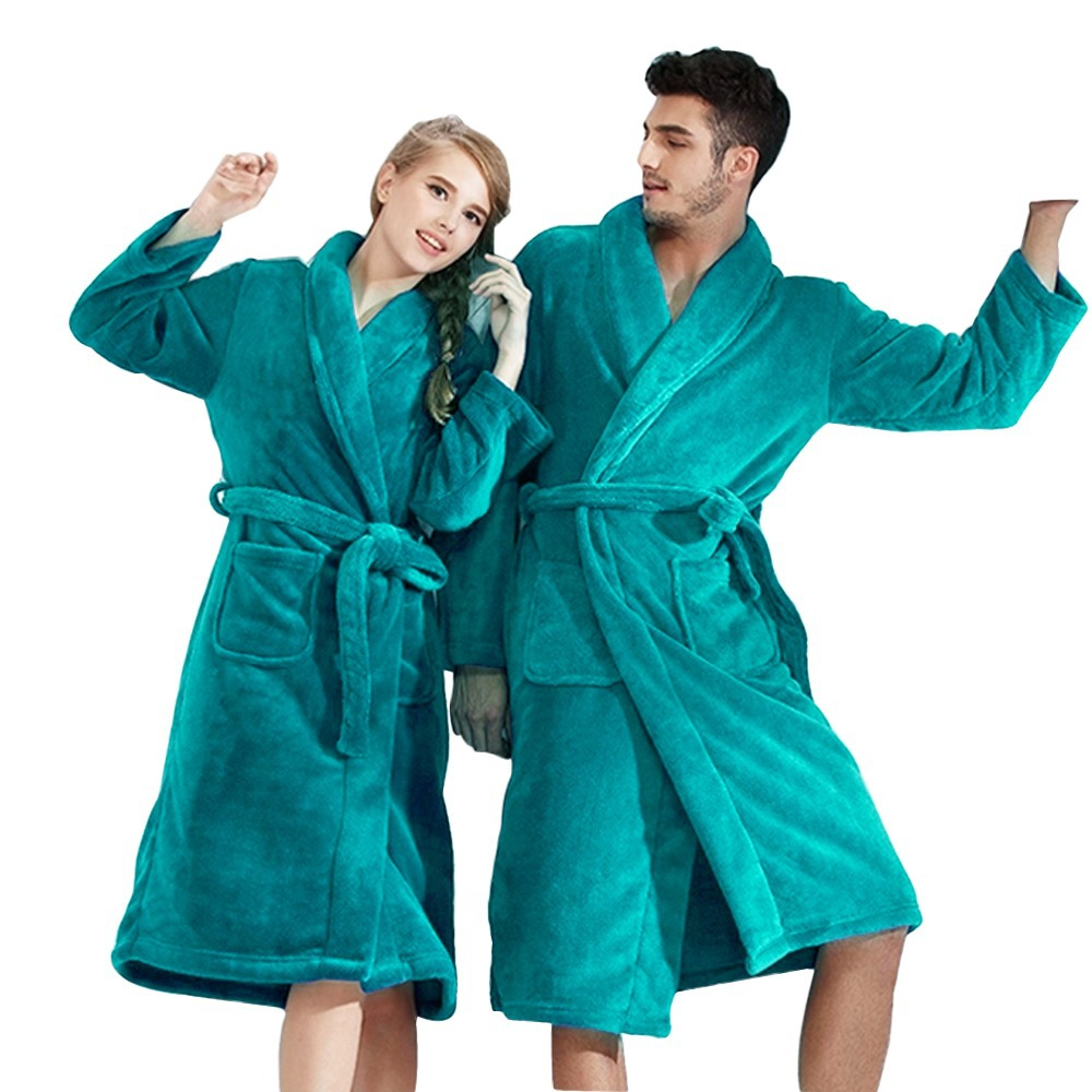 (Buy 1 Get Slippers Free) Bath Robe Women Bathroom Robe Men Bathrobe Men Pajama Thick Long Spa Robe Shower Homewear Coral Fleece(China (Mainland))