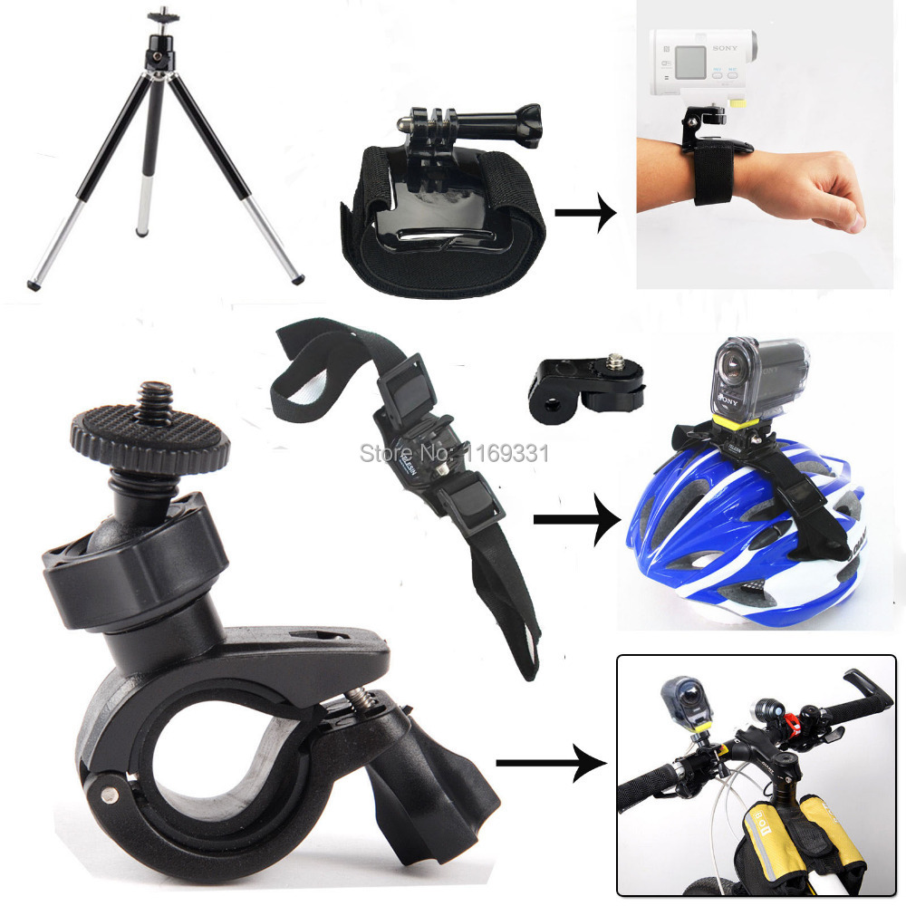 Triop Mount Kit Bike Accessories Helment Mount Outdoor Handlebar Wrist Strap for Sony Action Cam HDR-AS15 AS30V AS20 AS100V<br><br>Aliexpress