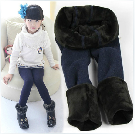 2015 new style Kids Girl Winter Warm Leggings solid Thick girls Pants Inside Plus Velvet Leggins
