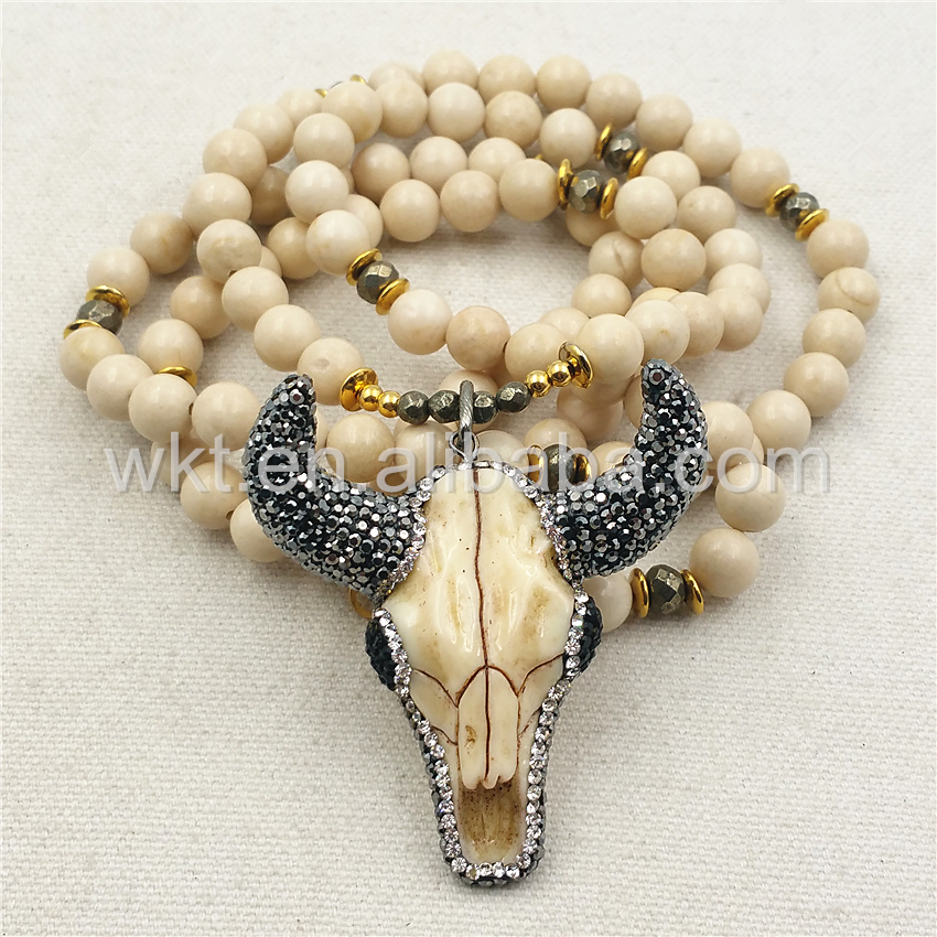 "WT-N859 All-Match Fashion 8mm Cream stone Beads Buffalo Head Necklace ,32"" Beads Resin Buffalo Head Necklace in high quality(China (Mainland))"