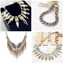 Retro fashion exaggerated luxury full orange crude fashion chain rivet punk style cone short necklace(China (Mainland))