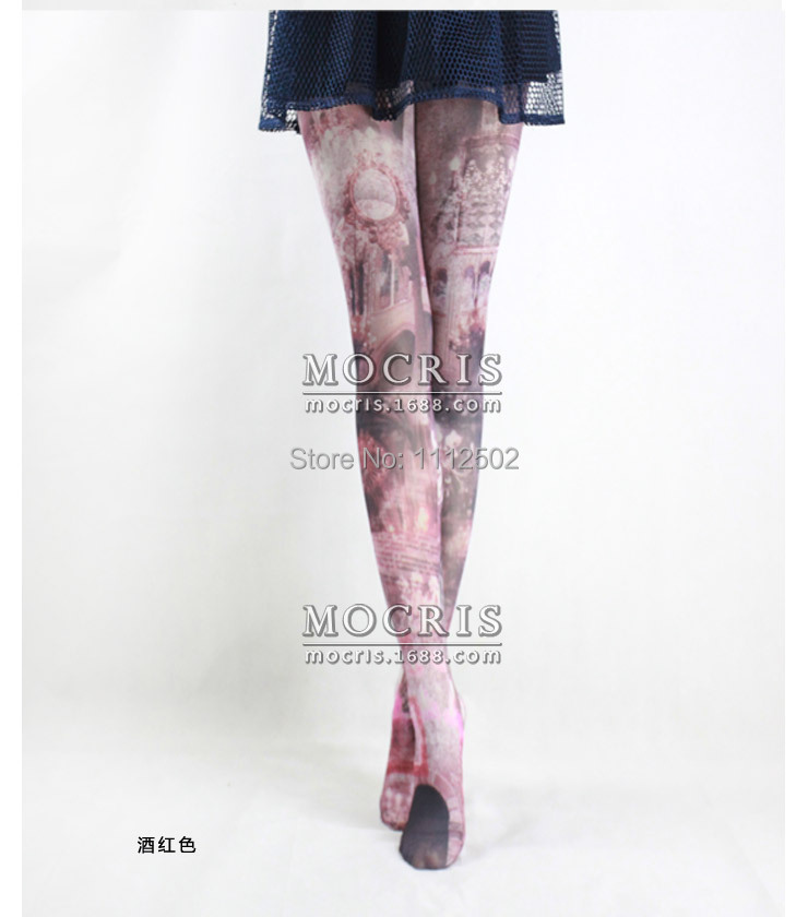 2014 Freeshipping one pairs female new hot sale Japanese harajuku retro church printed tights tattoo stockings 6838Одежда и ак�е��уары<br><br><br>Aliexpress