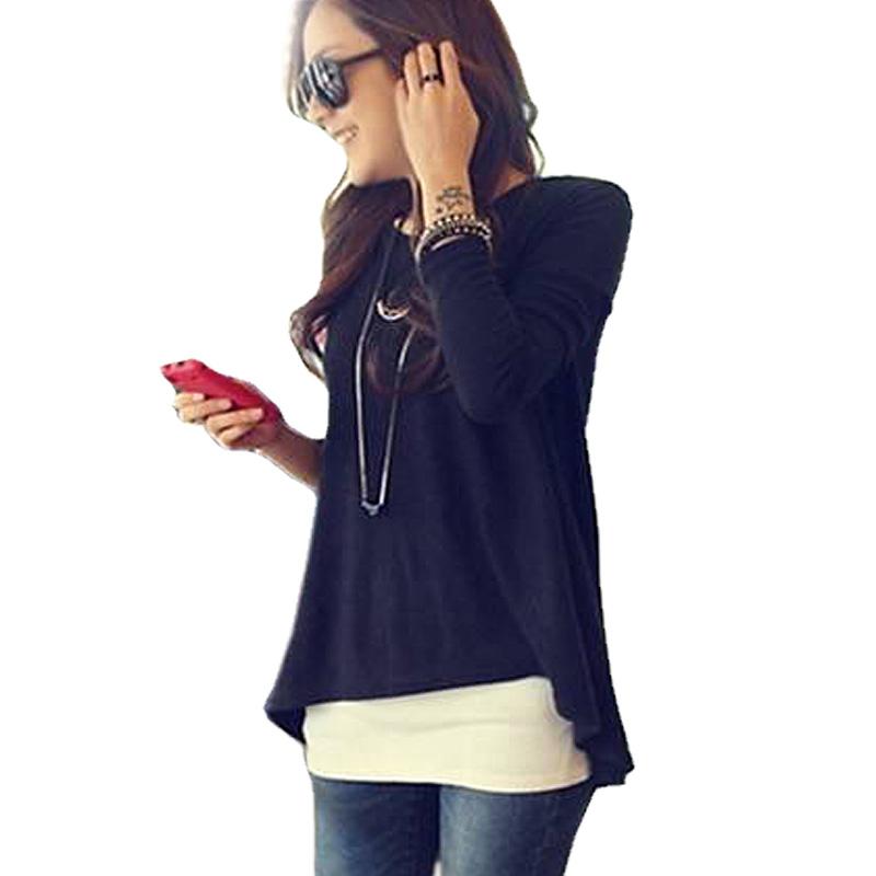 plus size 2014 New Autumn summer Women Round Neck fashion Loose Asymmetric hem long sleeve Tunic T-shirt TopsОдежда и ак�е��уары<br><br><br>Aliexpress