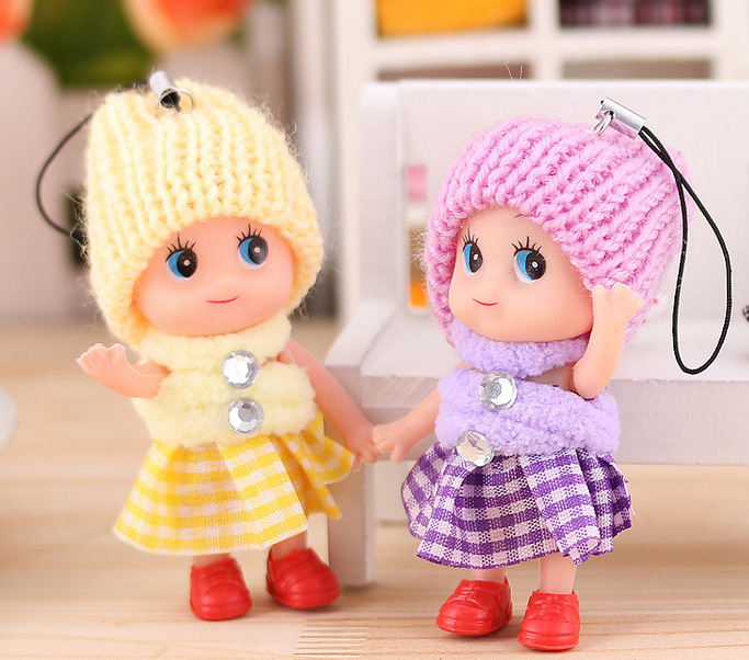 8cm Cute Princess Soft Interactive Baby Dolls Toy Mini Doll Pendant For Girls Min Bag Cell Phone Key Chain Lose Money Promotion(China (Mainland))
