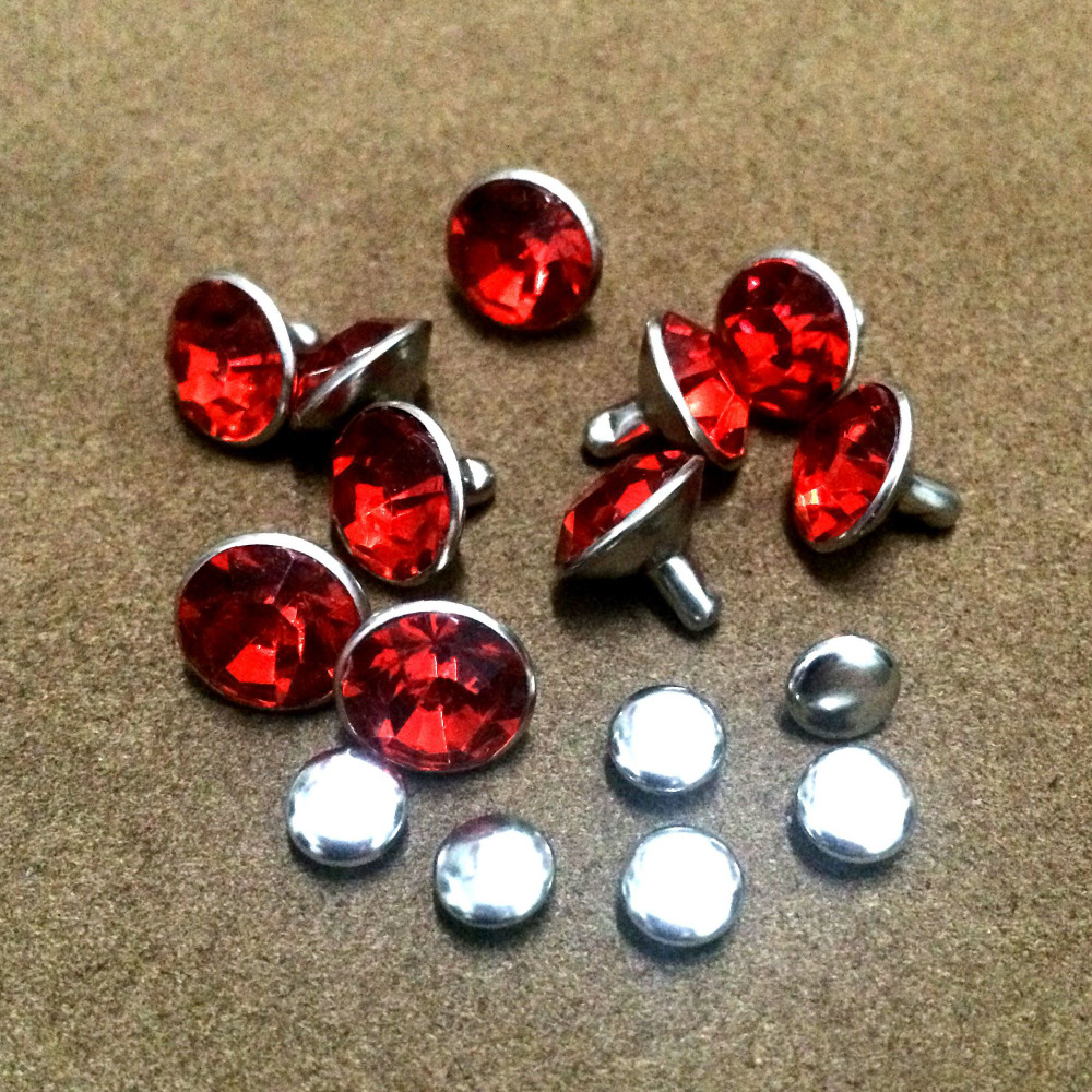 100 Sets 10mm Red CZ+++ Crystals Rhinestone Rivets Rapid Silver Nailhead Spots Studs DIY Fit For Bags Shoes Belts Shipping Free(China (Mainland))