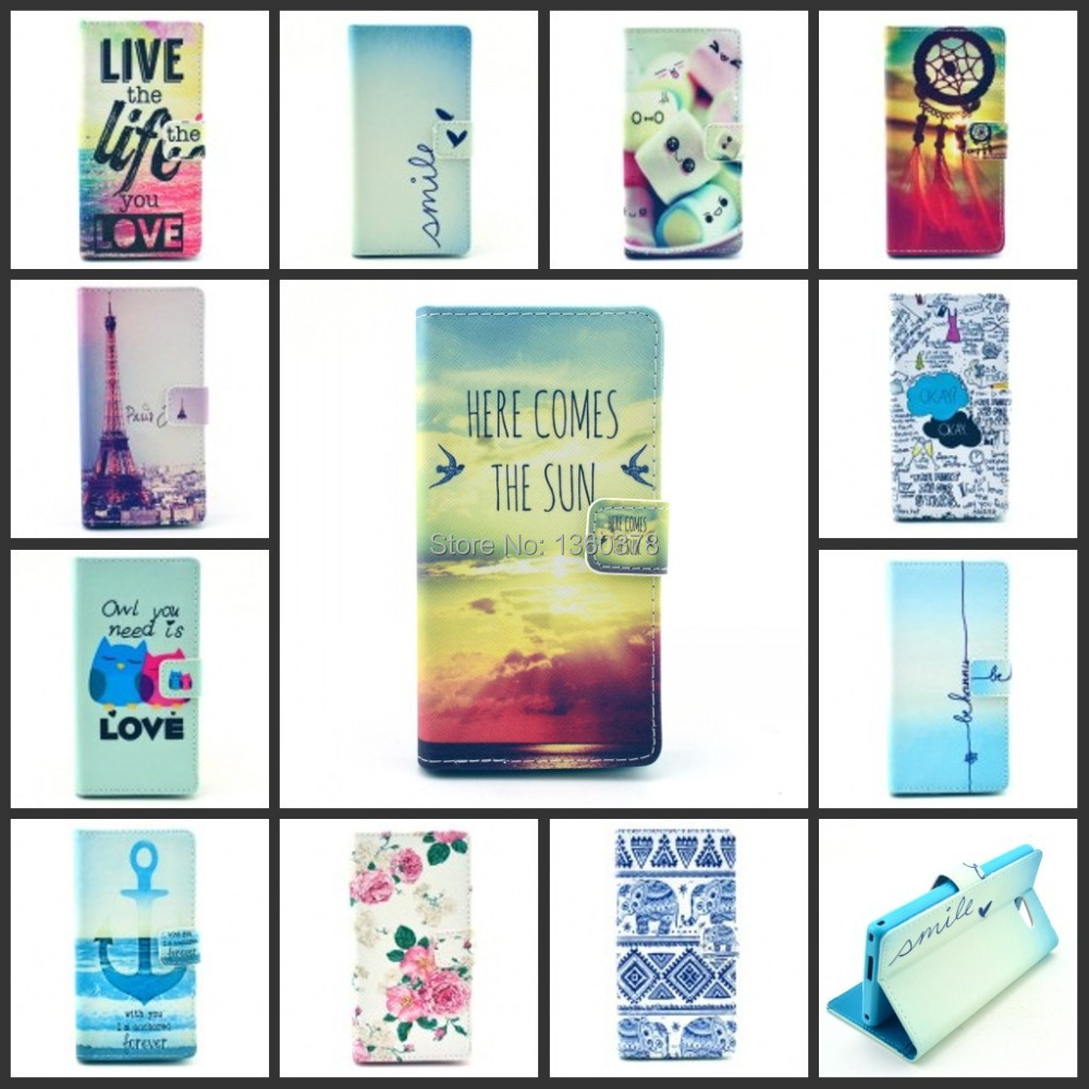 2015 PU Leather High quality flower cartoon design Phone Case For Sony Xperia M2 S50H Cell Phones Holster(China (Mainland))