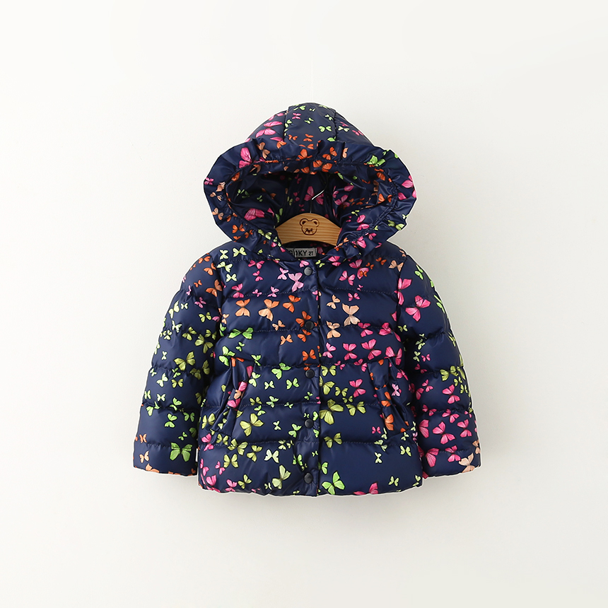 children outerwear 2016 winter butterfly print with hooded baby girls cotton-padded coats warm thick enfant jacket kids clothes(China (Mainland))