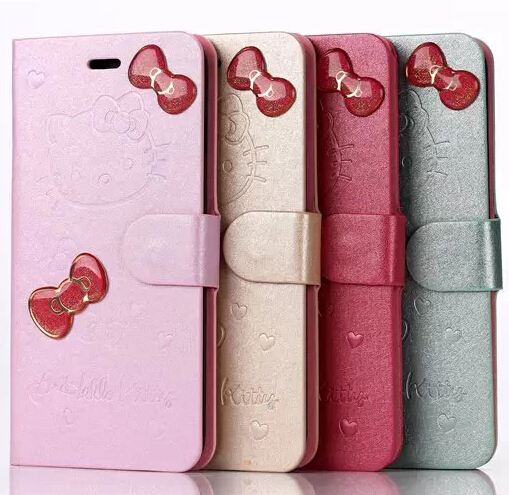 1PCS,2014 New Hello Kitty Wallet Leather Flip Case Stand Cover with Butterfly Knot For iphone 6/6 Plus with Screen Protector(China (Mainland))