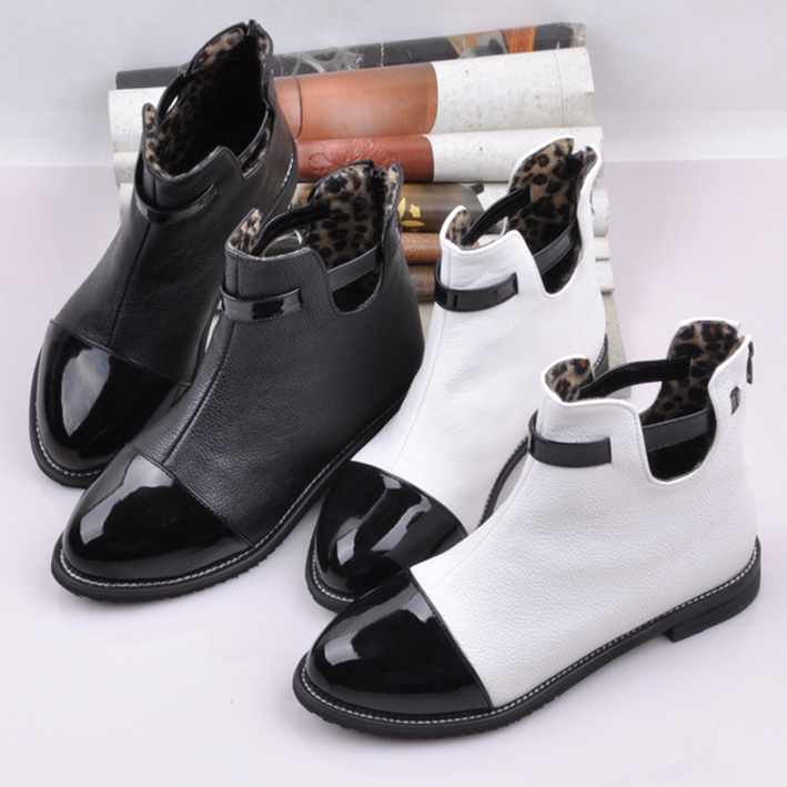 fashion martin boots black and white patchwork