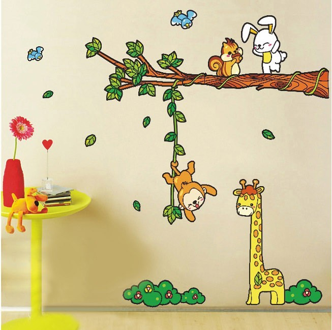 Animal Tree Cartoon Renovator Cute Children Bedroom Removable Wall Stickers Vintage Kids Vinyl