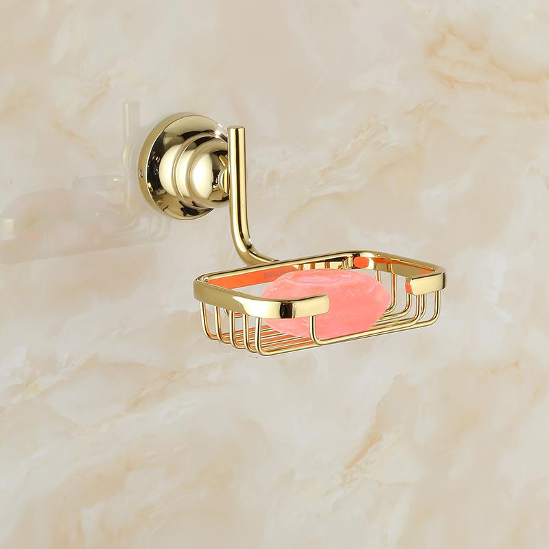 Gold mesh copper soap bathroom holder dish net basket Space