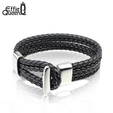 Buy Effie Queen New Fashion Jewelry Men Stainless Steel Silver Bracelets Black / Brown Braided Leather Bracelet Wholesale WTB17 for $5.32 in AliExpress store