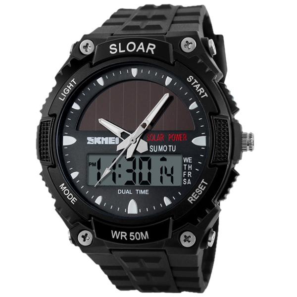Zegarek męski sportowy z panelem słonecznym podświetleniem i datą