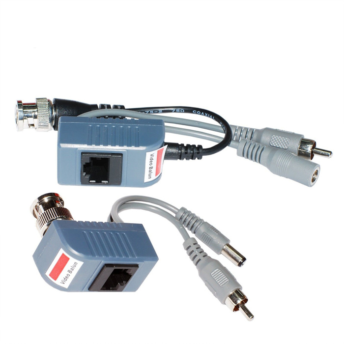 1 Pair BNC Coaxial CAT5 RJ45 Power Balun Audio Video Transceiver Cable for CCTV Camera(China (Mainland))