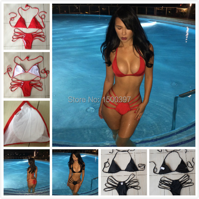 2015 Vintage Bra Black Bikini Women,Strappy Swimsuits Brand Retro Bandage Red Cut Swimwear Brazilian Monokini - iGoodBuy store