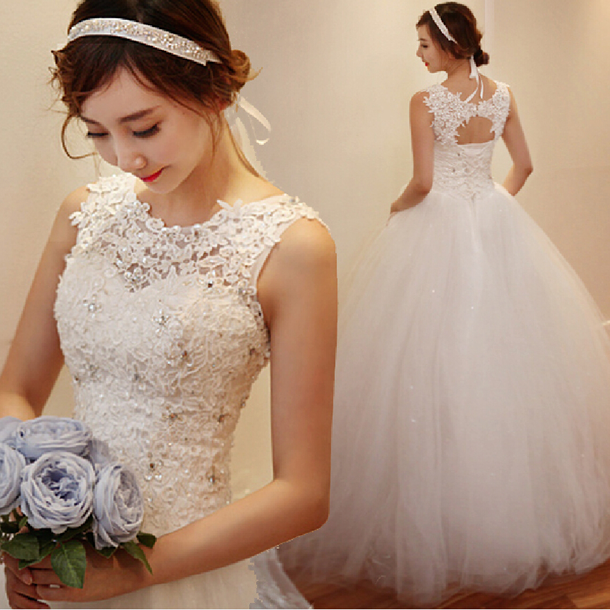 Cheap korean simple white lace wedding dress 2016 plus for Cheap plus size lace wedding dresses