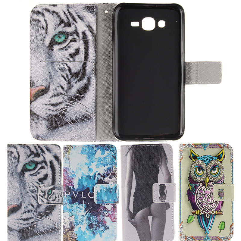 For Samsung J5 Luxury Cool Tiger Flower Owls PU Leather Wallet Flip Stand Phone Cover For Samsung Galaxy J5 Case(China (Mainland))