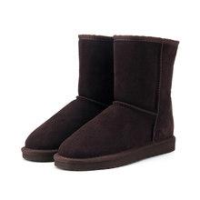 HABUCKN Echt leer suede winter snowboots voor vrouwen echte schapen bont wol gevoerde winter schoenen hoge kwaliteit bruin zwart(China)