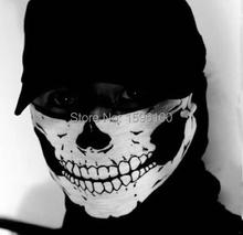 Neue Halloween Schädel Skeleton Outdoor Motorrad Fahrrad Multi funktion Kopfbedeckung Hut Schal Hälfte Gesicht Maske Cap Ausschnitt Ghost Schal(China (Mainland))