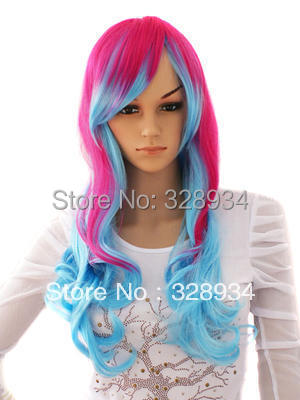 10 pieces Long Pink/Blue Wavy Costume парик in Swept Bang Free Shipping