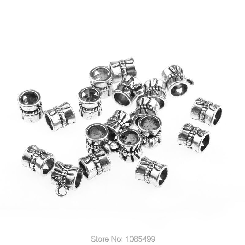 20Pcs tibetan silver cup flower hole hanger charms fit bracelet for Jewelry making 7x7mm