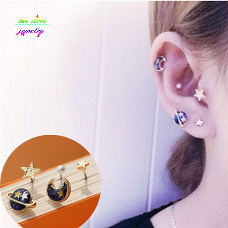 More Colors ! 2016 New Japanese Zipper Style Punk Planet Universe Moon Multi Pierced Stud Earrings For Women Fake Piercing Set(China (Mainland))