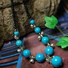 Wholesale Tibetan Jewelery Refinement Tibetan silver Flowers Natural Coral beads Pendant Necklace (Blue) Women High-end Gift(China (Mainland))