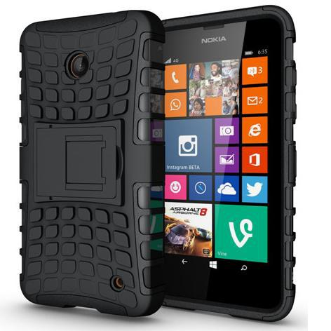 Tire Style Tough Rugged Dual Layer Hybrid Hard KickStand Duty Armor Case for NOKIA LUMIA 630