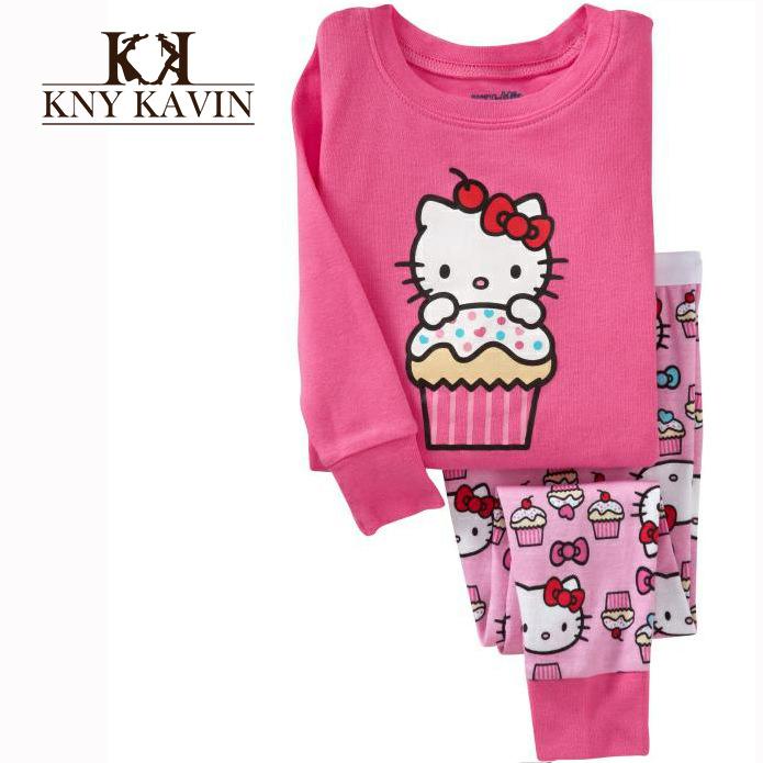 Kids girls clothes sets New 2014 children s winter clothing sets hello kitty ktcat fashion pajamas