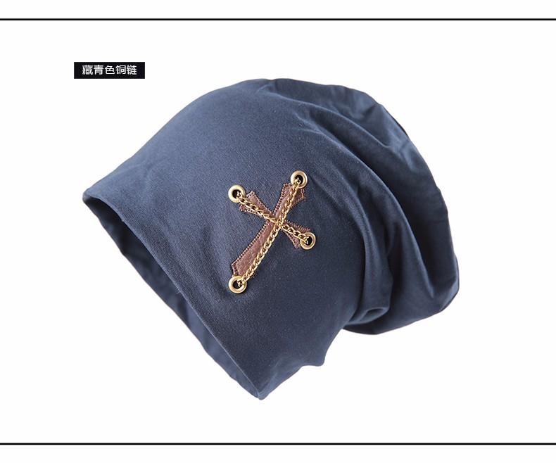 CACUSS Autumn Winter Women Beanies Cross Hat Skullie Scarf Letters Hip-Hop Women Outdoor Beanies Hat Cotton Hedging Cap Men