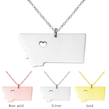 18k rose gold plated Montana State Charm Necklace,Montana State Shaped map Necklace,Custom Necklace With A Heart(China (Mainland))