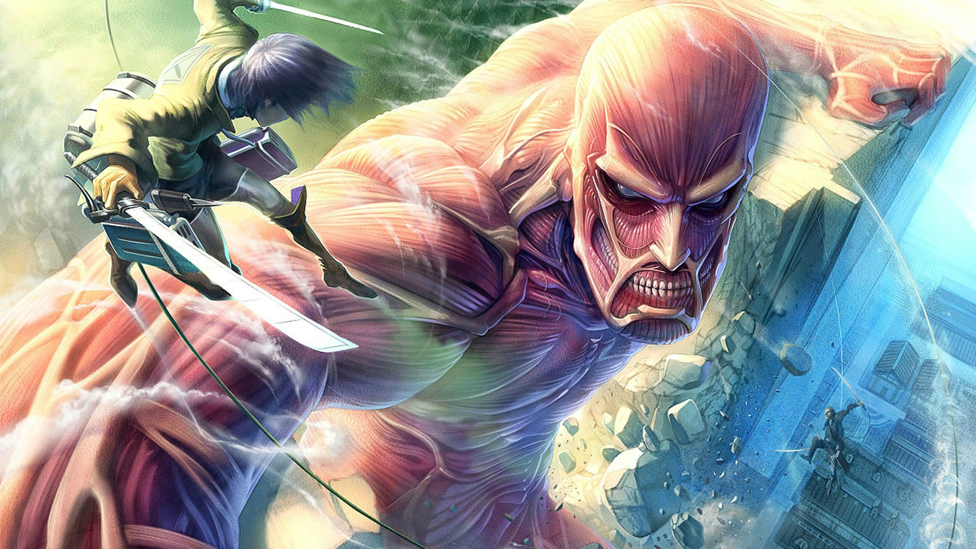 Free shipping Attack on Titan 2013 Japanese sci fi anime Poster print silk fabric wall decoration