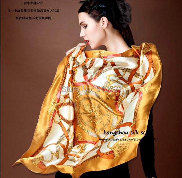 winter 90cm square scarf satin silk / multi color women hijab bandana free shipping(China (Mainland))
