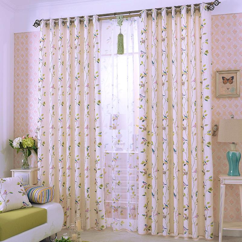 Pastoral Garden Style Curtain 2015 New Pink Bird Branch Pattern Draperies Blackout Curtains Cortinas Para Sala Customized(China (Mainland))