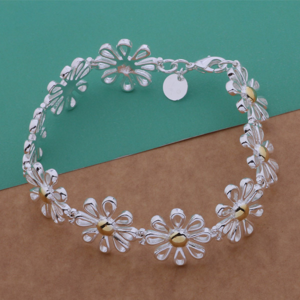 Fashion 925 sterling silver jewelry daisy bracelet cute gift for women factory wholesale top quality(China (Mainland))