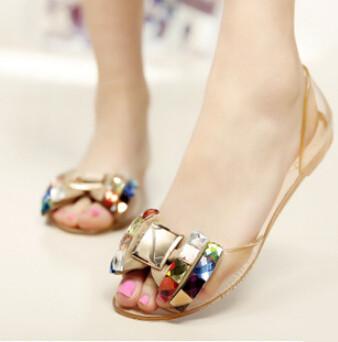 Летом Стиль сандалии обувь женщины 2015 женщины плоские сандалии Прозрачные peep ...