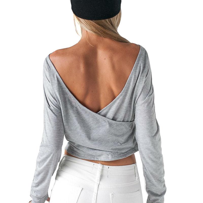 XZ Women's Shirts Yoga Sexy Backless Sports Top Fitness