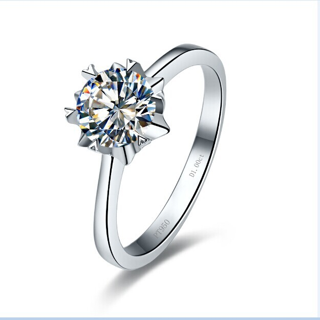 1 CT Snow Flake Shape Synthetic Diamond Wedding Ring Genuine 14k White Gold Customize Ring With Box(China (Mainland))