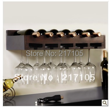 Free shipping wood wine rack shelf creative living room wall wine rack decorative glass shelf Continental Shelf Wine
