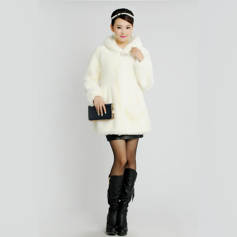 Winter Faux Mink Fur Warm Coat For Women Long Sleeve Outerwear Coat Ladies Coats With Fur Hood Free Shipping Plus Size(China (Mainland))