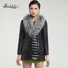 Leather down coat female genuine leather clothing oversized fur collar sheepskin outerwear genuine leather female medium-long(China (Mainland))