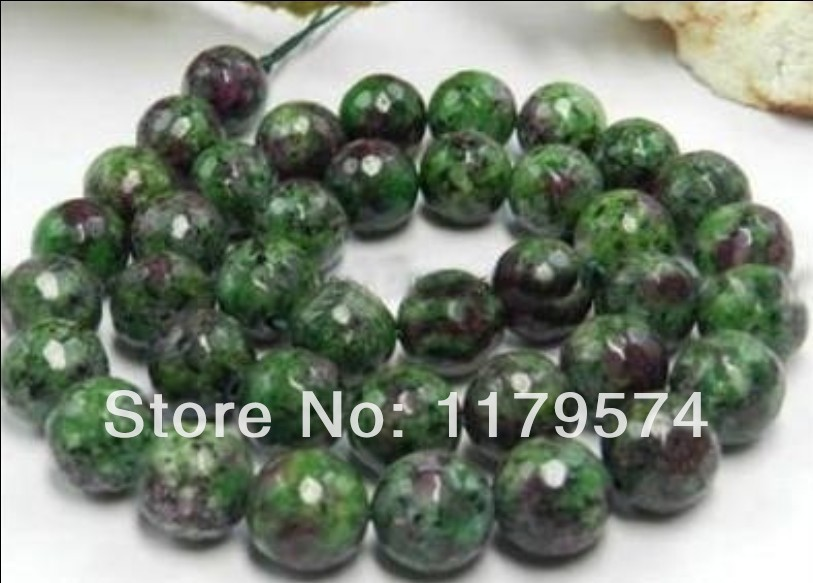 Hot Free shipping,wholesale and retail beautifulNew Charming AAA 6mm Natural Faceted Ruby Zoisite Jasper Round Loose Beads WJ402(China (Mainland))