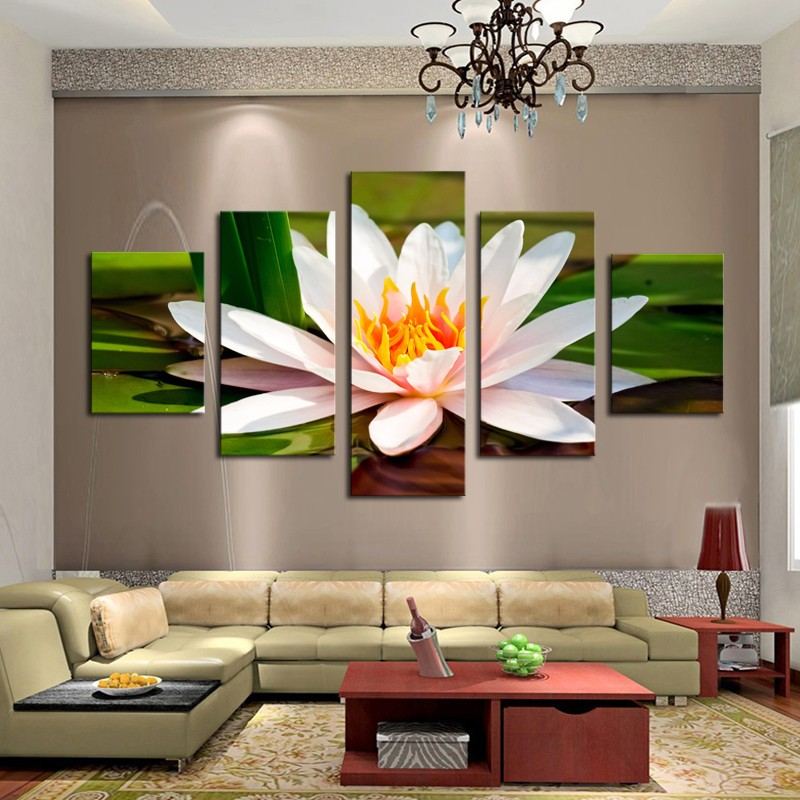 Free shipping 5 Pieces White Flowers Modern Home Wall Decor Canvas picture Art HD Print Painting Canvas art framed