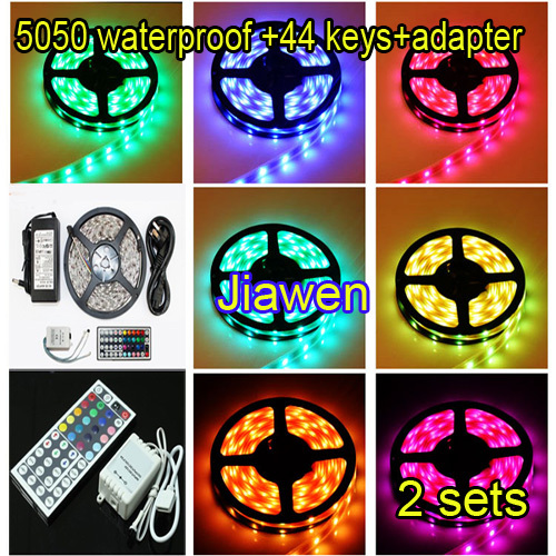 5M/Roll 5050 RGB Waterproof 300 LED Strip Light+44Key IR Remote Controller+5A AC Power Supply 12V adapter two sets Free Shipping(China (Mainland))