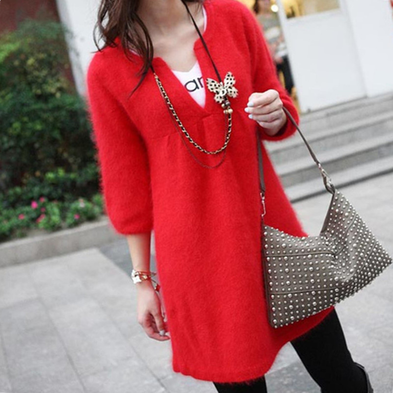 High Quality More colors Autumn Winter 2015 NEW Half Sleeve Female Fashion Outwear Pullovers Knitted Mink Cashmere Sweater Women(China (Mainland))